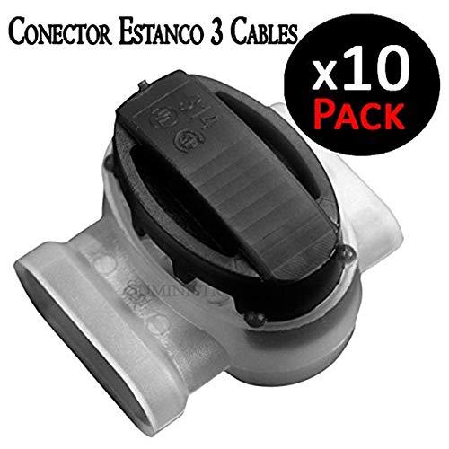 Connettore stagno per 3 cavi elettrici da 1,5 mm max 30 V. Utilizzato da installatori di irrigazione per collegare cavi. Confezione da 10 schede di giunzione.