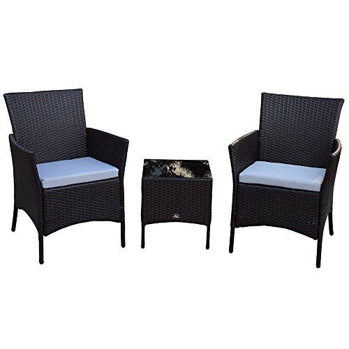 Sj 3 Teiliges Polyrattan Gartenmöbelset Tisch Stuhl Balkonmöbel-Set SJ-03 Schwarz