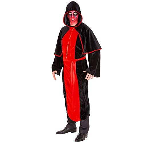 Herren Vampir Kostüm Teufel Dämon Herrenkostüm inkl. langem Gewand, extra Cape und Schärpe (XL | Nr. 300176) (Tag Der Toten Tracht)