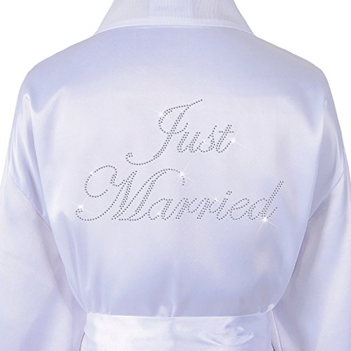 Just Married Satin Fleece Strass Bademantel Wedding Day personalisierbar Honeymoon Bademantel Weiß Weiß