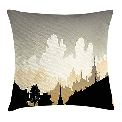 DHNKW Ancient China Decorations Throw Pillow Cushion Cover by, Generic East Asian Cityscape Oriental Exotic Town, Decorative Square Accent Pillow Case, 20 X 20 inches, Cream Sand Brown Black
