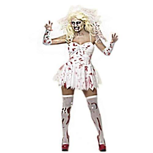 lErwachsene Frau Weiß Blutige Geisterbraut Cosplay Kostüm Weibliche Bühnenkostüme Party Halloween Weihnachten ()