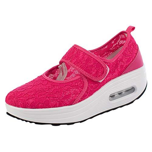 Damen Outdoor Fitnessschuhe Hoch Atmungsaktiv Mesh rutschfeste Jogging Turnschuhe Keilabsatz Sneakers Plateau Laufschuhe Sandalen Sportschuhe mit Klettverschluss (EU:36, Rot)