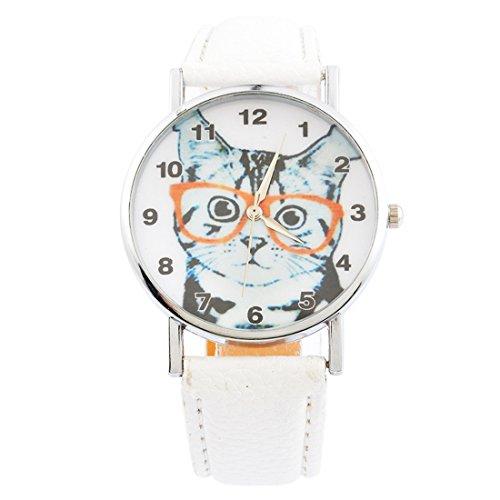 Souarts Damen Armbanduhr Katze Muster Uhr mit Batterie Charm Geschenk Weiß