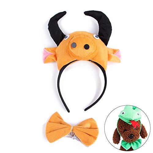 Isuper Niedliche Haustiere Cosplay Katze Hund Kostüm Stirnband Krawatte Dressup Set für Halloween Party Favors (Kuh)