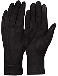 LeKuni Warme Winterhandschuhe Damen Touchscreen Handschuhe Schwarz Grau Wildleder fleecefutter