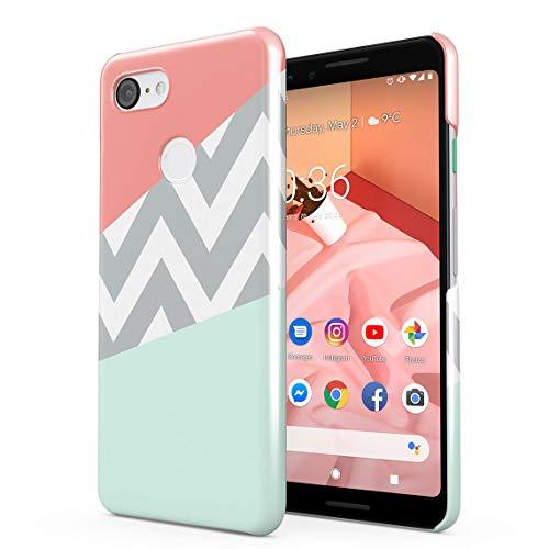 Mint and Coral Pink Chevron Blocks Dünne Rückschale aus Hartplastik für Google Pixel 3 Handy Hülle Schutzhülle Slim Fit Case Cover Hearts Hard Case, Snap