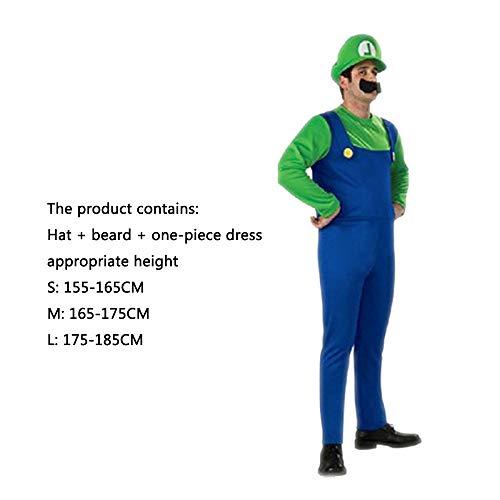 ASJUNQ Mario Louis Super Mario Kleiderparty Halloween Kleidung Super Mary Onesies Movie Props,Men-M (Einfach Super Männliche Halloween-kostüme)