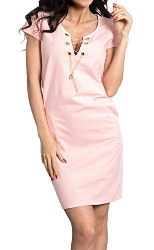 Zeta Ville - Robe jersey manches courtes - encolure chaîne dorée - Femme - 186z Poudre Rose