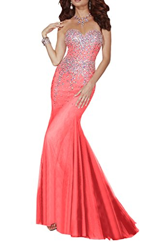 Missdressy Damen Lang Traegerlos Abendkleid Tuell Herzform Meerjungfrau-32-Wassermelone