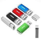 Meinami 5er Pack 32GB USB Stick USB 2.0 Rot, Blau, Grün, Schwarz, Silber