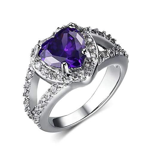 SonMo Silber 925 Ringe Damen Trauringe Verlobungsring Paarringe Herz Lila 13Mm Paarring Gravur Zirkonia für Frauen 60 (19.1)