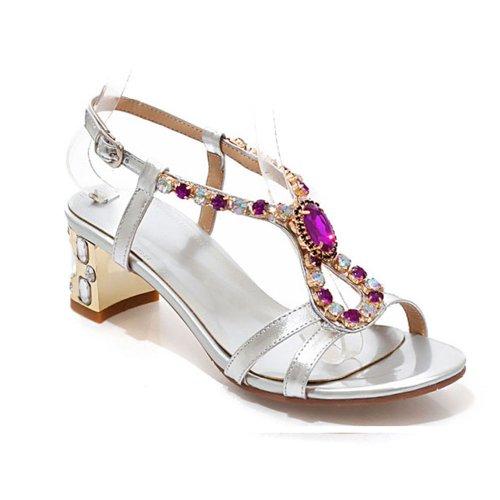 Dayiss Elegant Damen Strass Sandaletten Sandalen mit Blockabsatz Leder Spitzenschuhe Silbern