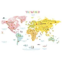 Decowall Colourful World Map Kids Wall Stickers Wall Decals (1616N 1616S 1306N)