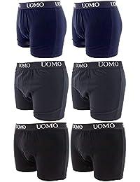 Pack de 6 piezas hombre ropa interior El boxeador de algodón elástico varios colores Negro Azul