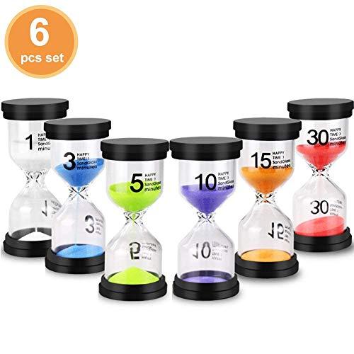 ren Set 1/3 / 5/10 / 15/30 Minuten Zeitmesser/Glas Timer für Kinder zähneputzen, Schule, Kita, Büro, Tea Time - 6 Stück ()