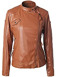 677ab5ec35 ChenYongPing Damen Lederjacke Lederjacke Damen - Chocolate Brown Lederjacken  für Damen Damen Winterjacke Mantel (Color