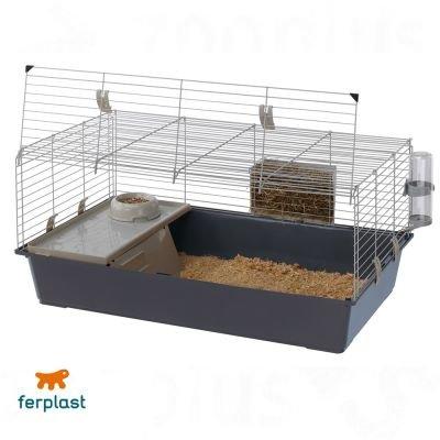 Wangado gabbia per piccoli animali di ferplast con lato frontale apribile. vaschetta, mangiatoia e casetta in plastica e beverini. distanza tra le barre: 2 cm. dimensioni: l 97 x p 60 x h 45,5 cm.