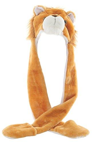 DELEY Unisex Plüsch Tier Hut Mit Langen Schal Handschuhe Ohrenschützer Halloween Weihnachten Winter Kappe Mütze Karneval Kostüme - Mädchen Kostüm Lion Halloween
