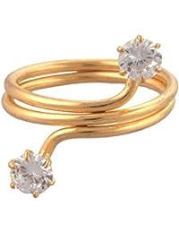 Zephyrr Jewellery Gold Tone Adjustable Ring With Zircons