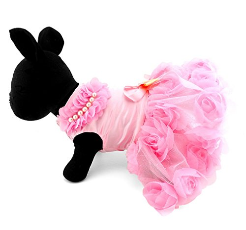 Ranphy Pet Puppy Small Dog Cat Satin Floral Skirt Tutu Dress Bowknot Weedding Skirt Romantic, Lovely Doggy Summer Formal Clothes
