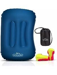 Outdoro aufblasbares Kissen - ultraleichtes Reisekissen & Kopfkissen für Reise, Camping, Outdoor, Strand zum Aufblasen