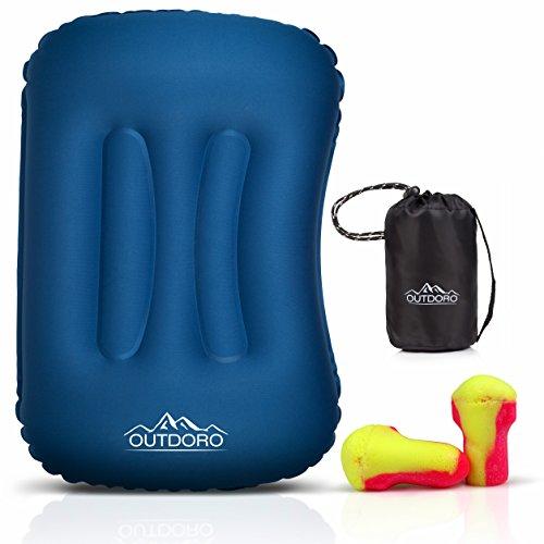 Outdoro aufblasbares Kissen - ultraleichtes Reisekissen & Kopfkissen für Reise, Camping, Outdoor, Strand zum Aufblasen (blau)