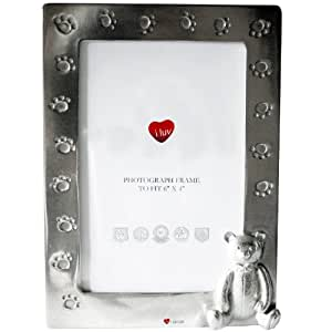 Child's Large Picture Frame Square Cast Pewter with Teddy and Paw Prints