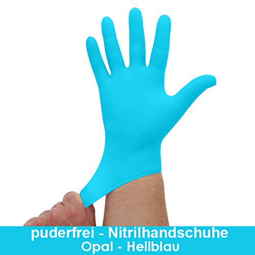 lblau, Opal, Blaue Einmalhandschuhe, Einweghandschuhe, 100 Stück, Größe S ()