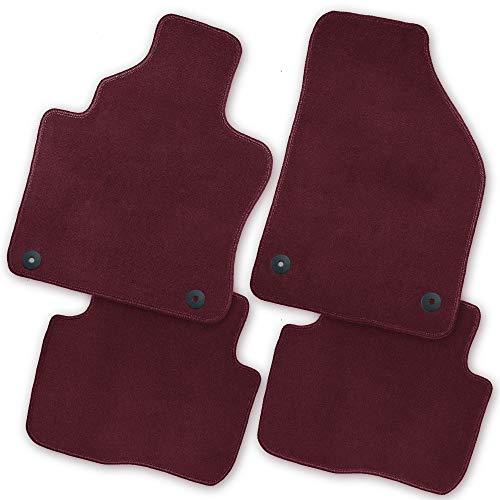 emium Auto Fußmatten Velours Rot | Rand Kettelung Rot | Set 4-teilig | Passgenau für Modell Siehe Details ()