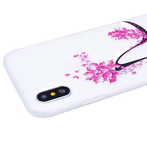 Cover iPhone X, SMART LEGEND Custodia iPhone X Case TPU Silicone Semi Frosted Opaca Trasparente Ultra Slim Gomma Morbido Gel Bumper, Soft Caso Flessibile Protettiva Antiurto Shock Cover - Crisantemo 1 Tacchi alti 1