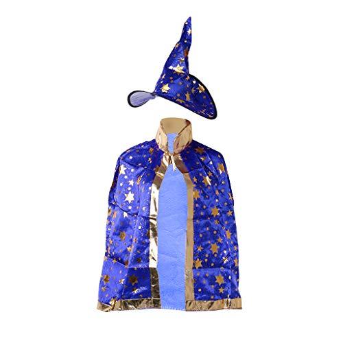 Lamdoo Kinder Halloween Kostüm Hexe Zauberer Umhang Robe Mütze Sterne Cosplay, Stoff, blau, 86x37x38cm