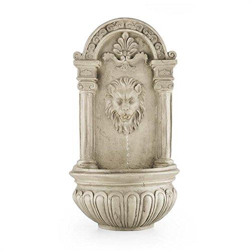 Blumfeldt Löwenstein - Fuente de Pared , Fuente de jardín Ornamental , Decorativa , Panel Solar y Batería Recargable: 2000 mAh , Diseño Antiguo , Sensor de luz , Gris