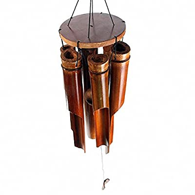 Bamboo Windchime 6 Chimes Brown Clapper, Medium