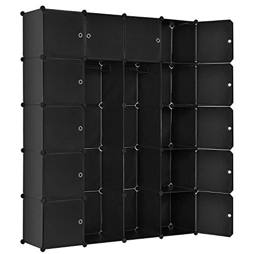Juskys DIY Regalsystem aus 20 Boxen inkl. 2 Kleiderstangen   12 Fächer mit Tür   10 kg pro Box   Kunststoff   schwarz   Schrank Garderobe Garderobenschrank
