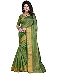 Sr Cotton Saree With Blouse Piece (Srstudio_Green_Free Size)