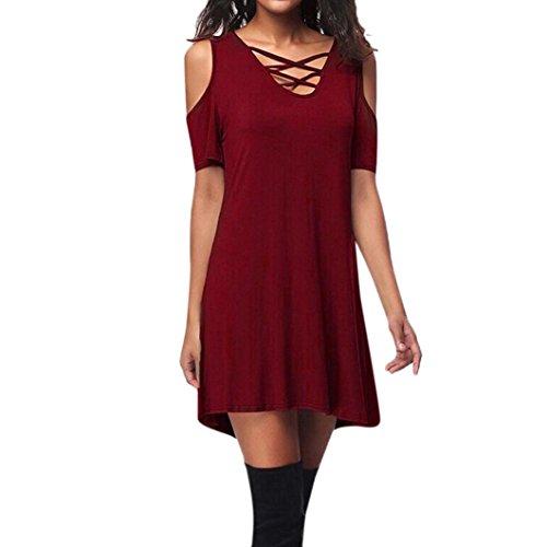 VEMOW Elegante Damen Frauen Kalte Schulter Kurzarm Criss Kreuz T-Shirt Casual Täglichen Party Strand Im Freien Kleid Mit Tasche(Rot, 42 DE/M CN) -