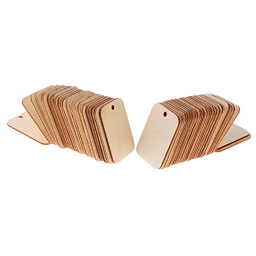 MagiDeal 50 Pieces Wooden Rectangle Craft Shape Tag Embellishment for Craft with Rope