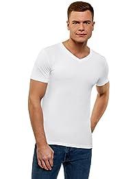 oodji Ultra Homme T-Shirt Basique Col en V sans Étiquette