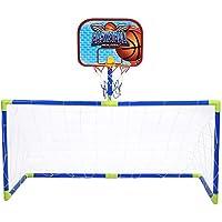 VGEBY1 Juguete con Marco de fútbol de Mini Baloncesto, Juego de combinación de portería de fútbol de Tablero de Baloncesto con Bomba de Bolas para niños Juego de Deportes al Aire Libre en Interiores