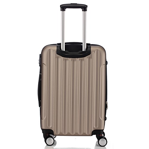 Zwillingsrollen 2050 Hartschale Trolley Koffer Reisekoffer in M-L-XL-Set in 12 Farben (Set , Champagner) - 3