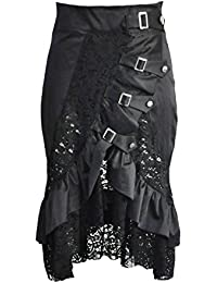 BSLINGERIE® Femme Gothic Punk Noir longueur de la cheville Jupe