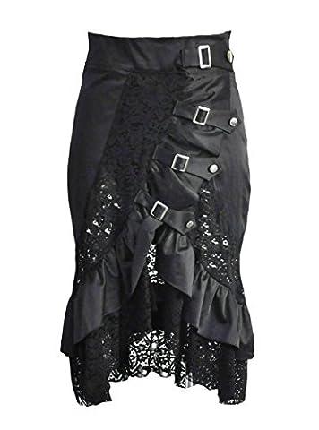 BSLINGERIE® Damen Gothic Punk Steampunk Knöchellänge Rock Kleidung Röcke (XXL, Schwarz)