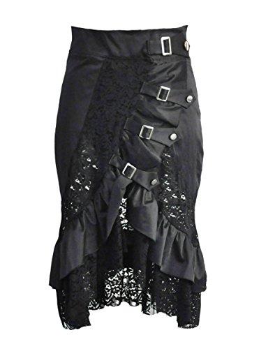 BSLINGERIE® Damen Gothic Punk Steampunk Knöchellänge Rock Kleidung Röcke (XL, (Kostüm Rock Großbritannien Party)