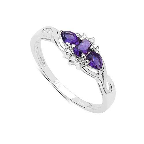 Details about  /Five Genuine Marquise Amethyst Rhodium EP Brass Women/'s Wedding Ring