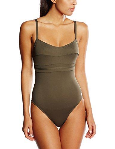 Haute pression A1001 - Maillot de bain une pièce - Uni - Femme - Vert (Kaki), 44 (Taille faricant: 44)