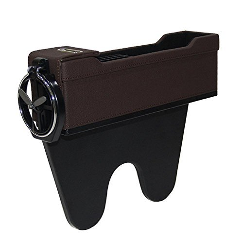 Bolsillo lateral de consola para monedas y portavasos KOBWA, organizador de asiento de coche, relleno, piel sintética (negro, derecho)