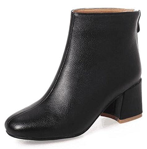 Aisun Women's Fashion Square Toe Medium Block Heel Back Zipper