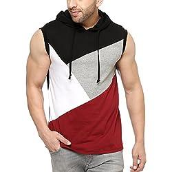 GRITSTONES Men's Solid Regular Fit T-Shirt (GSVSTHD1287BLKMRN_M_Black/Maroon)