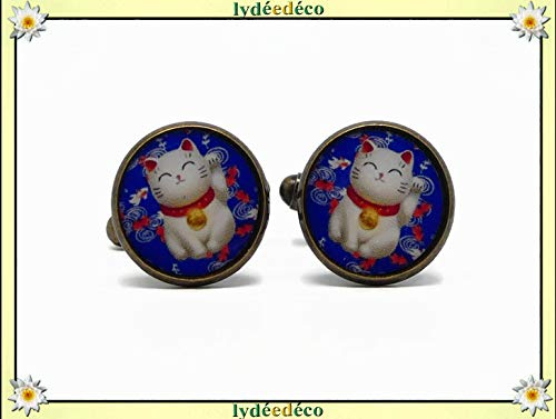 2 Manschettenknöpfe Kostüm Harz Chinesische Katze Glücksbringer blau rot weiß Geschenke Weihnacht hochzeit Zeremonie Freunde Vater Geburtstag Gäste Meistervatertag